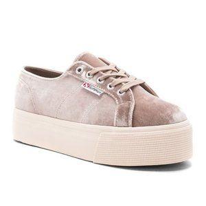 SUPERGA Velvet Platform Lace Up Casual Sneakers